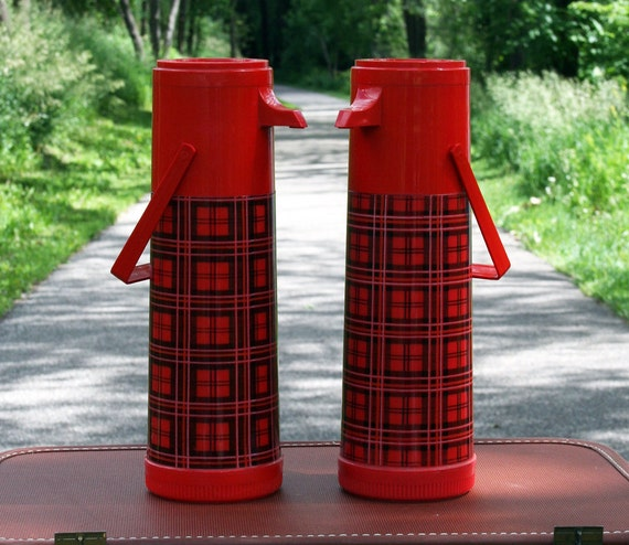 """Matching Pair of Vintage Aladdin """"Pump-a-Drink"""", Thermos"""