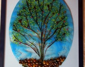 Family tree of life glass fused wall plaque, custom order