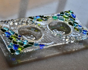 Judaic glass fused shabbat candle holder by YafitGlass