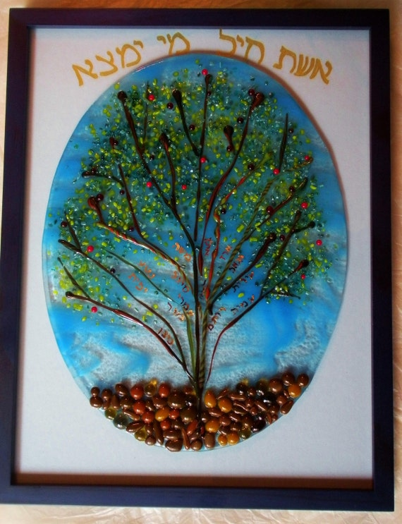 Family tree of life glass fused wall plaque, custom order by YafitGlass