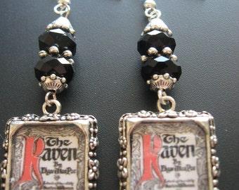 Poe Jewelry, Poe Earrings, Photo Charm Jewelry,  Raven Earrings, Raven Jewelry, Horror Jewelry, Mystery Jewelry, Macabre Jewelry