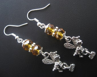 Bee Earrings, Honey Bee Earrings, Bee Jewelry, Honey Bee Jewelry, Amber Jewelry, Amber Earrings, Nature Earrings, Nature Jewelry