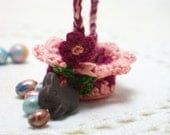 Mini Handcrafted Easter Basket with Bunny and Eggs