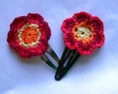 Handmade Fire Flower Hair Clips Pair