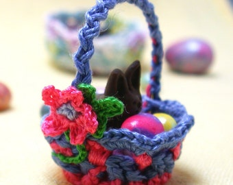 Miniature Handcrafted Basket  with Eggs and Bunny One Twelve Scale