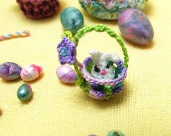 Micro Mini Amigurumi Bunny with Basket