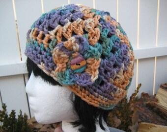Crocheted Hat Flapper Beanie Bucket Style Cloche Wool Blend - Wool Hat crochet