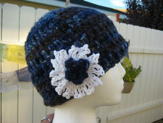 Flapper Crochet hat with flower - crochet Hat - SALE