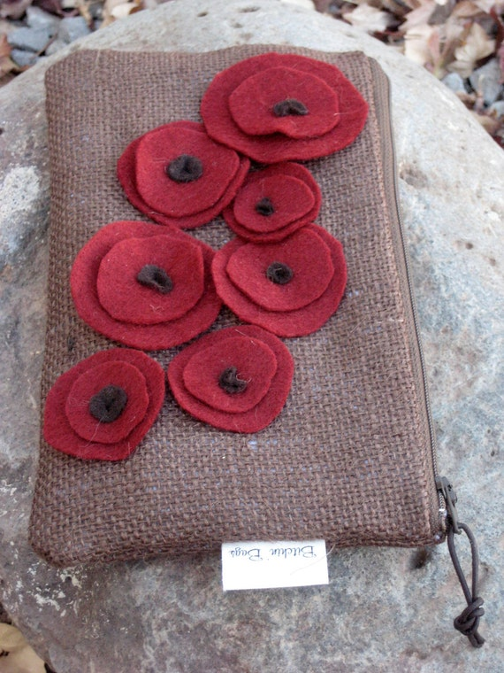 Burlap Clutch with cascading poppies -Burlap Clutch