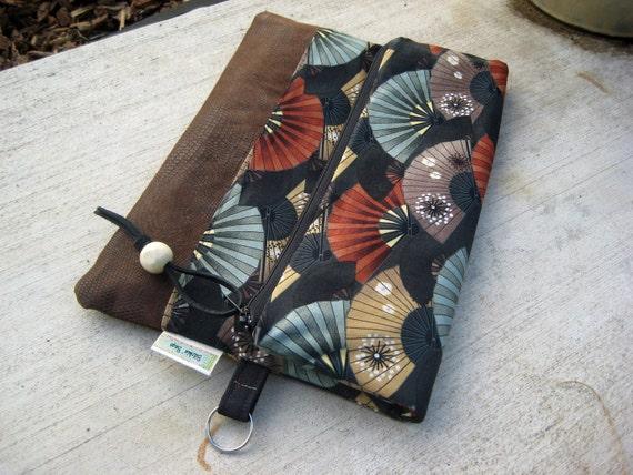 Fold Over Bag Clutch With Geisha Fans - Fold Over Clutch - Asian clutch