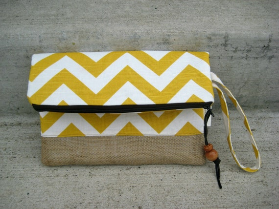 Chevron Clutch - Lemon and White - Burlap Bottom - Purse - Wristlet