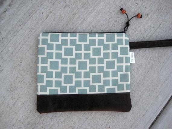 Geometric Large Clutch - Purse - Handbag - Wristlet - Faux Leather Bottom - Clutch