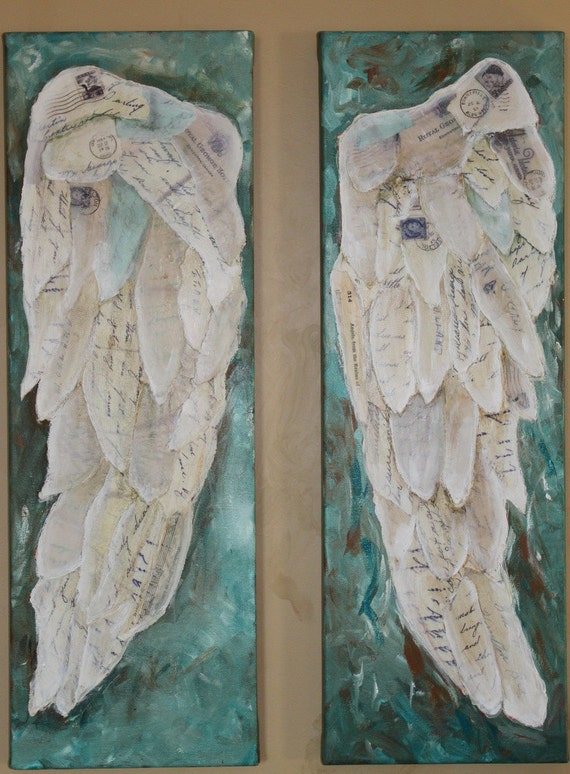Angel  Wings two 8 x 24 canvas             On the Wings of Love II    collage art Treasury feature