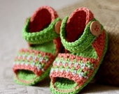Instant download - Crochet PATTERN Baby Booties (pdf file) - Multi-coloured Sandals