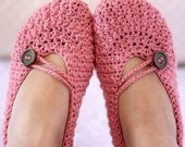 Instant download - Crochet PATTERN (pdf file) - Pretty in Pink Ladies Slippers