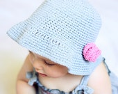 Instant download - Hat Crochet PATTERN (pdf file) - Simple Flower Sun Hat (baby to adult)