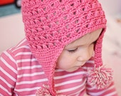 Instant dwonload - Hat Crochet PATTERN (pdf file) - Miracle Earflap Hat (baby, toddler, child sizes)