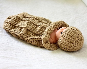 Crochet PATTERN  - Baby Cocoon and Hat Set