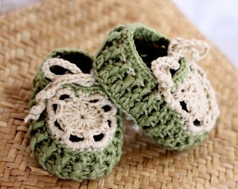 Crochet PATTERN - Pastel Green Baby Slippers