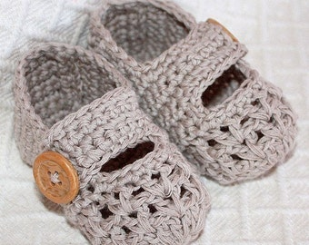 Instant download - Crochet PATTERN (pdf file) - One Strap Baby Booties