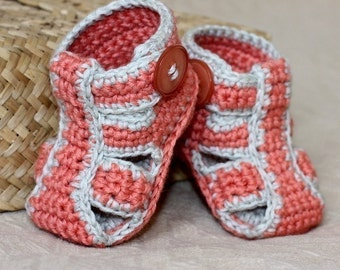 Crochet PATTERN for baby booties - Double Sole Baby Sandals