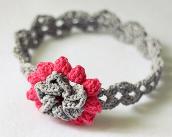 Instant download - Crochet PATTERN (pdf file) - Cherry Blossom Headband (sizes - baby to adult)