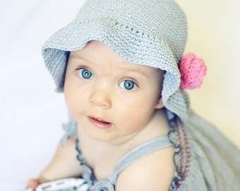 Crochet hat PATTERN - Simple Flower Sun Hat (baby to adult)