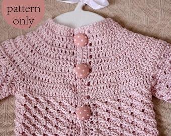Instant download - Crochet PATTERN (pdf file) - Polka Dot Baby Cardigan