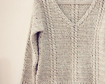 Crochet PATTERN  - Cable V-neck Sweater