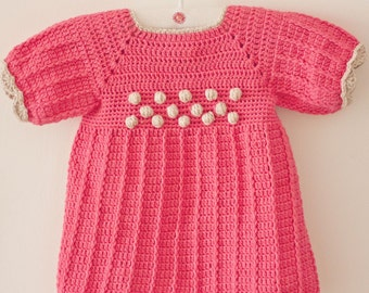 Crochet PATTERN - Popcorn Dress (sizes up to 4 years)