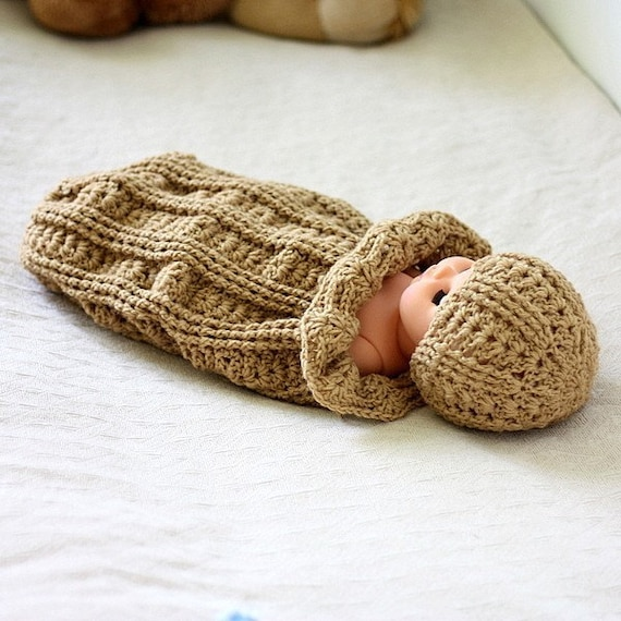 Free Crochet Pattern Hooded Cocoon : Crochet PATTERN Baby Cocoon and Hat Set