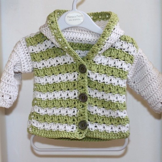 Crochet PATTERN  - Sorrento Hooded Cardigan (now available for 3-6, 6-9, 9-12 months)