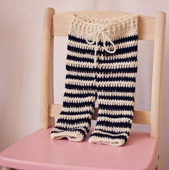 Instant download - Crochet PATTERN (pdf file) - Striped Baby Pants