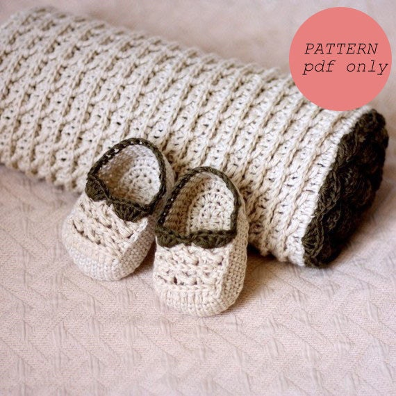 Crochet PATTERN - Choco Baby Blanket and Booties