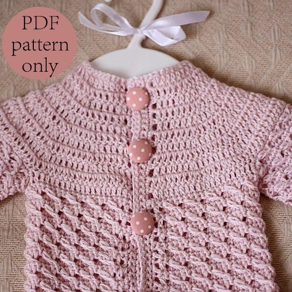 Crochet Patterns For Baby Clothes : Crochet PATTERN Polka Dot Baby Cardigan