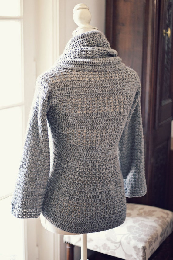 Crochet Patterns For Cardigan : Crochet PATTERN Ladies Shrug Cardigan