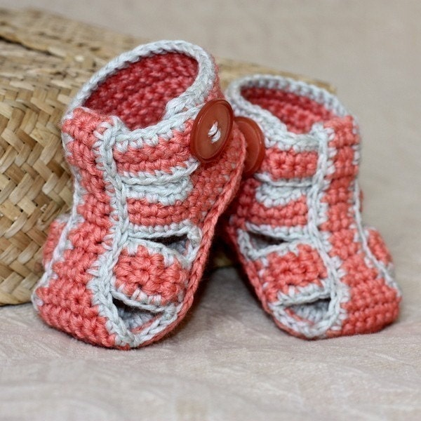 Crochet PATTERN for baby booties Double Sole Baby Sandals