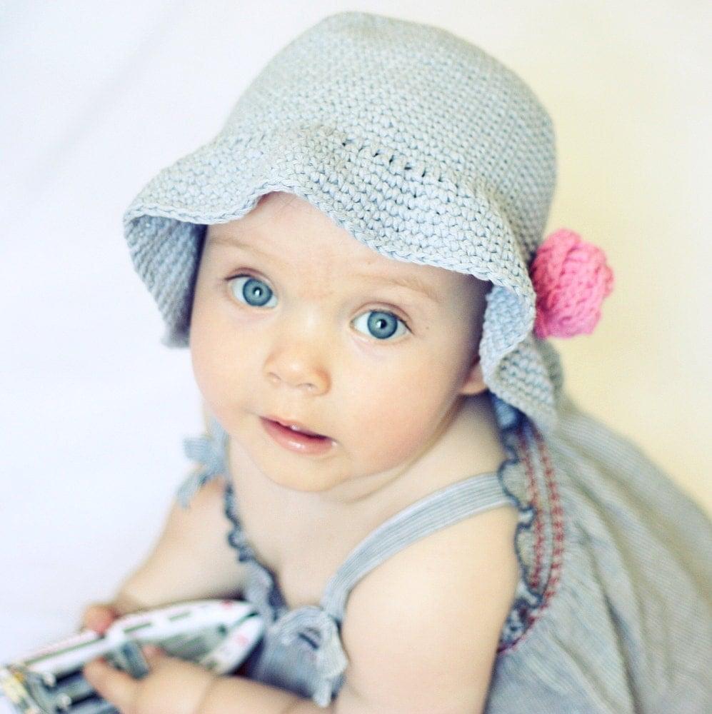 Crochet hat PATTERN - Simple Flower Sun Hat (baby to adult ...