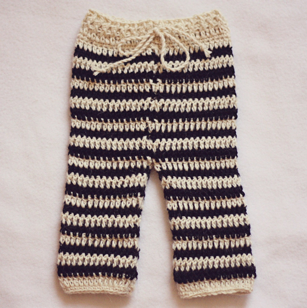 Crochet Patterns For Baby Boy Outfits : Crochet PATTERN Striped Baby Pants