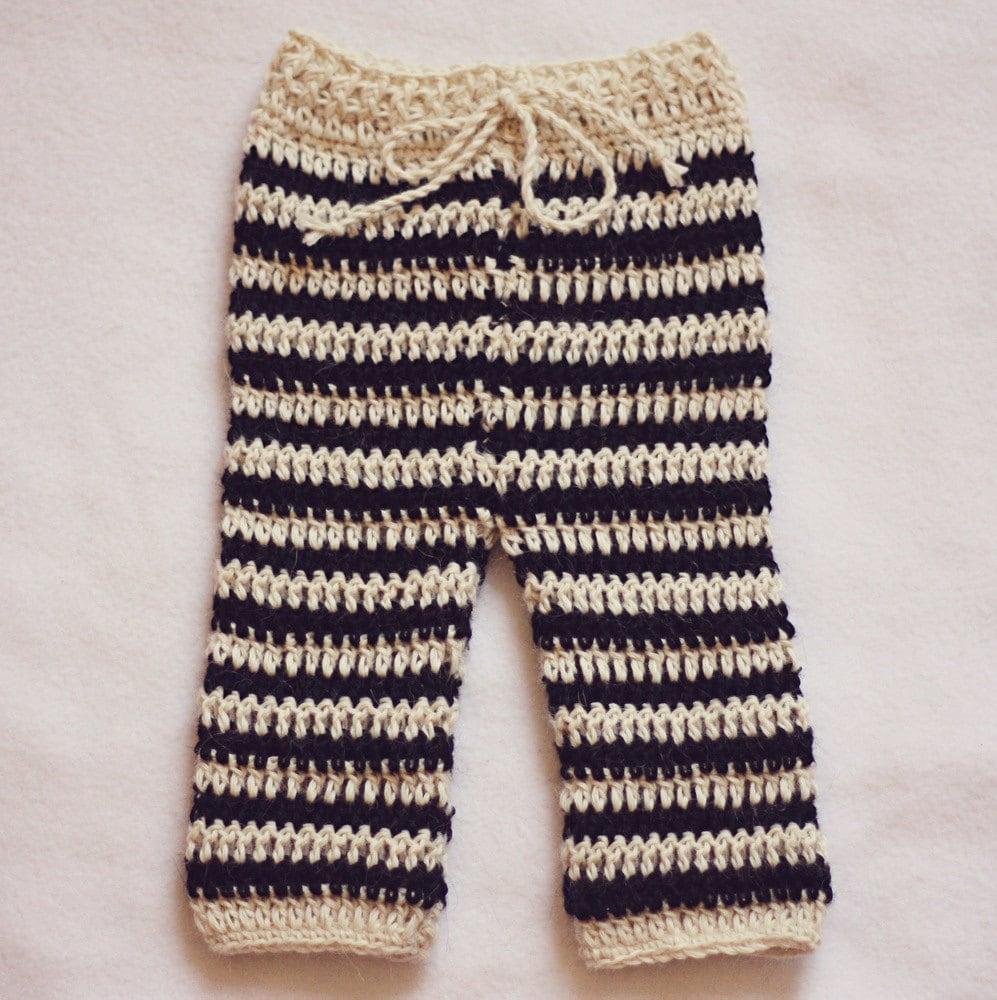 Crochet Pattern Baby Boy Newsboy Hat : Crochet PATTERN Striped Baby Pants