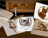 Kitty, Cat, Note Cards, Recycled, Vintage Style12 pack