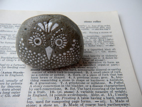 large owl - hand painted stone