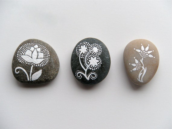 thistle  - painted stone - medium size