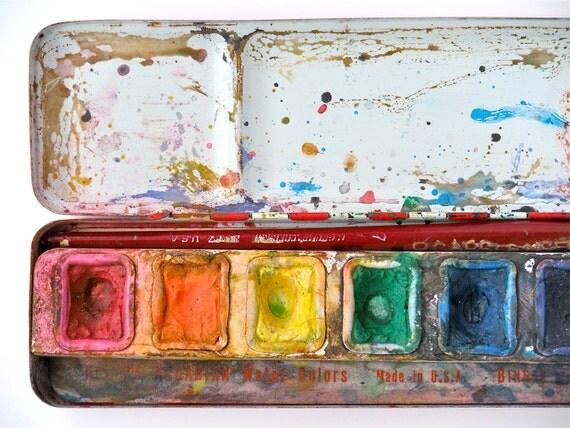 Arcadian Watercolors - vintage paint box tin, american made