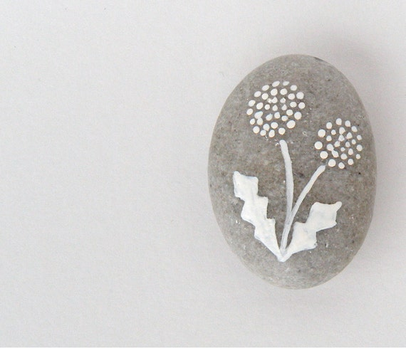 dandelion  - painted stone - small size