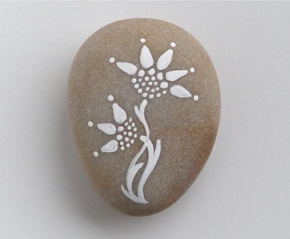 cornflowers  - painted stone - medium size