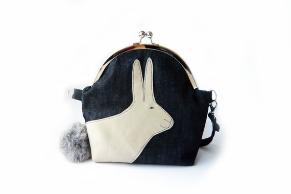 shoulder frame bag rabbit tail