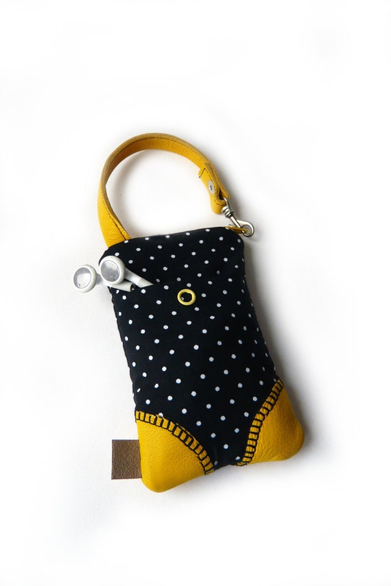 cellphone/camera case dots yellow