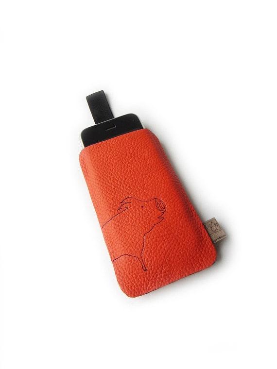 Iphone sleeve pig orange leather case