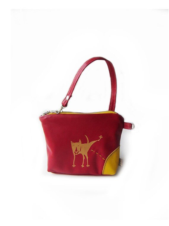 leather purse peeing dog pouch red screenprint bag